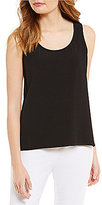 Eileen Fisher Scoop Neck Sleeveless Crinkle Crepe Tank