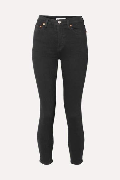 RE/DONE Originals Ultra Stretch High-rise Ankle Crop Skinny Jeans - Black