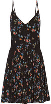Rebecca Minkoff Refraction pleated floral-print crepe mini dress