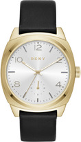 DKNY Broome Gold-Tone Stainless Steel and Black Leather Watch