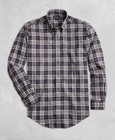 Brooks Brothers Golden Fleece Regent Fit Black Plaid Flannel Sport Shirt