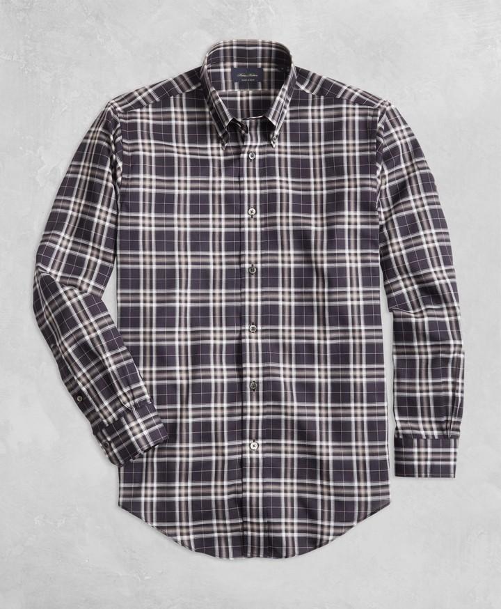 Brooks Brothers Golden Fleece Regent Fit Black Plaid Flannel Sport Shirt
