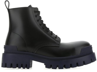 Balenciaga Strike Contrasting Sole Lace-Up Boots