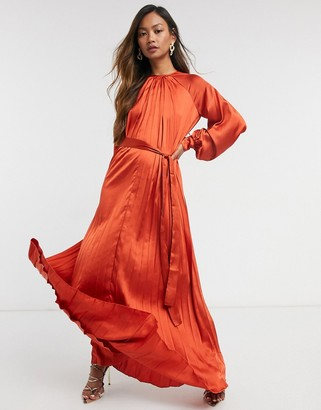 ASOS DESIGN satin pleated trapeze maxi dress with belt in rust