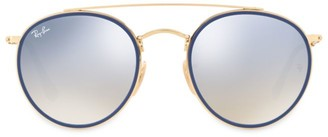 Ray-Ban RB3647 51MM Mirrored Round Aviator Sunglasses