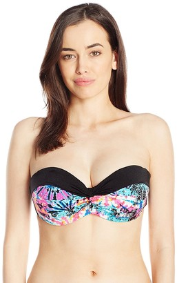Jessica Simpson Women's Firework Twist Bandeau Underwire with Removable D Push up Bikini Top