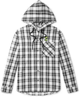 Off-White Oversized Appliqued Checked Cotton-Blend Flannel Hooded Shirt
