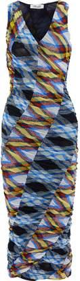 Diane von Furstenberg Paneled Ruched Checked Stretch-mesh Midi Dress