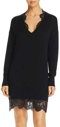 Brochu Walker Lace-Trimmed Wool & Cashmere Sweater Dress