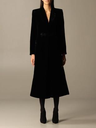 Giorgio Armani Coat In Velvet With Logo