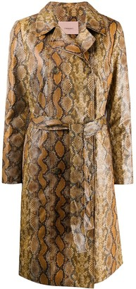 Twin-Set Snakeskin-Effect Trench Coat