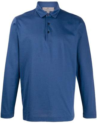 Canali plain longsleeve polo shirt