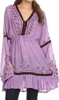 Sakkas SST115 - Melina Embroidered V-Neck Kimono Sleeves Rayon Tunic Blouse / Cover-up - OS