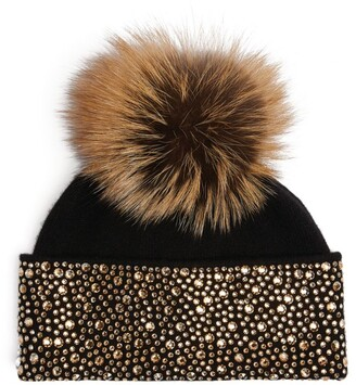 William Sharp Crystal-Embellished Fur Beanie Hat