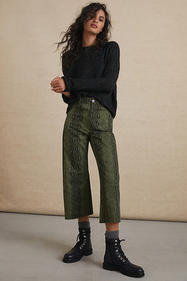 Adelyn Rae Serpentine Cropped Wide-Leg Pants By in Green Size XS