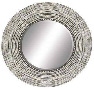 UMA Contemporary Round Shell Tile Inlay Wooden Wall Mirror