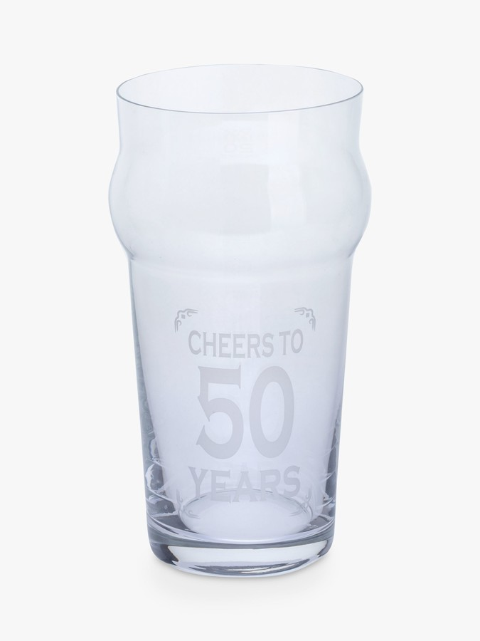 John Lewis & Partners Something Special Nonic 'Cheers To 50 Years' Birthday Beer Glass, 570ml, Clear