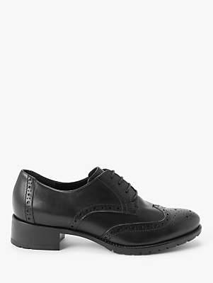 John Lewis & Partners Fenton Block Heeled Brogues, Black Leather