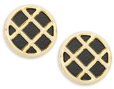 House Of Harlow Phoebe Caged Leather Button Clip-On Earrings