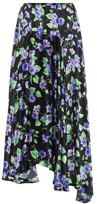 Balenciaga Floral silk midi skirt