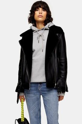 Topshop Womens Black Faux Shearling Biker Jacket - Black