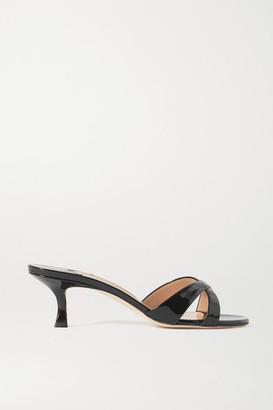 Manolo Blahnik Callamu Patent-leather Mules - Black