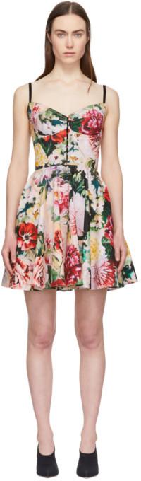Dolce & Gabbana Multicolor Peonies Bustier Dress