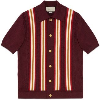 Gucci Cotton linen cable knit polo