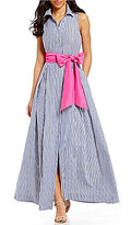 Eliza J Collared Sleeveless Stripe Maxi Shirt Dress