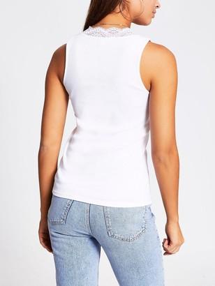 River Island V-neck Lace Detail Jersey Vest - White