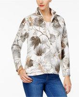Alfred Dunner Eskimo Kiss Leaf-Print Fleece Active Jacket