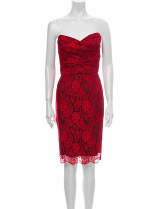 Dolce & Gabbana Lace Pattern Mini Dress Red