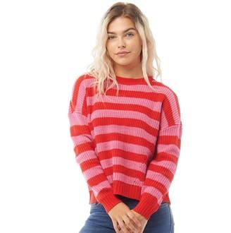 Only Womens Sara Long Sleeve Stripe Knit Jumper Mars Red/Shocking Pink