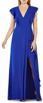 BCBGMAXAZRIA Flutter Sleeve Gown