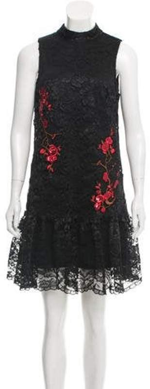 Nicole Miller Sequin-Accented Lace Mini Dress w/ Tags Black Sequin-Accented Lace Mini Dress w/ Tags
