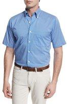 Peter Millar Dot-Print Short-Sleeve Woven Shirt, Blue