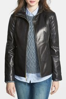 Ellen Tracy Stand Collar Genuine Leather Scuba Jacket (Petite)