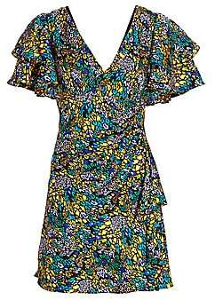 Tanya Taylor Women's Abstract Leopard Print Ruffle Sleeve Mini Dress