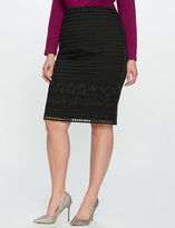 ELOQUII Plus Size Mixed Lace Pencil Skirt