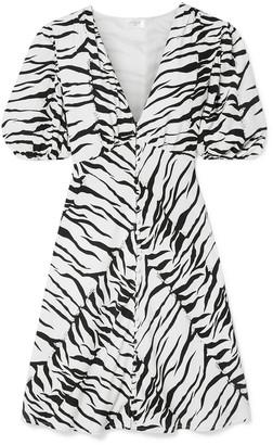 Rixo Zanita Zebra-print Crepe De Chine Mini Dress