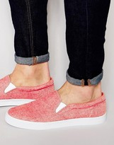 Asos Slip On Sneakers in Red Chambray