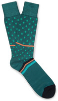 Paul Smith Patterned Cotton-blend Socks - Green