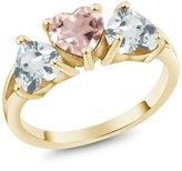 Gem Stone King 2.04 Ct Heart Rose Rose Quartz Sky Blue Aquamarine 18K Yellow Gold 3-Stone Ring