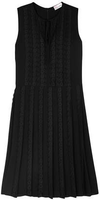 RED Valentino Black Lace-trimmed Chiffon Dress