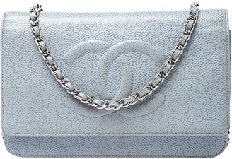 Chanel Sky Blue Quilted Leather Timeless WOC Clutch Bag