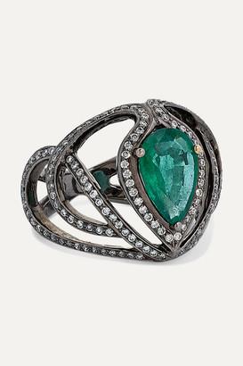 Amrapali 18-karat Blackened Gold, Emerald And Diamond Ring - 6