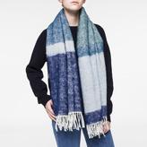 Paul Smith Women's Sky Blue Colour Block Wool-Mohair Scarf