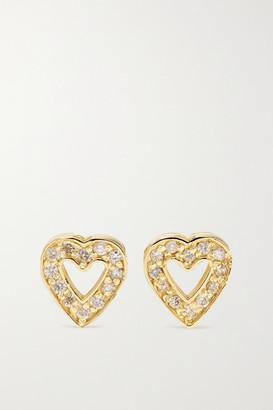 Jennifer Meyer Mini Open Heart 18-karat Gold Diamond Earrings - one size