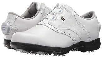 Foot Joy Footjoy FootJoy DryJoys Cleated BOA Traditional Blucher Saddle (All Over White) Women's Golf Shoes