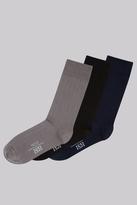 Moss Bros Multi 3 Pack Ribbed Socks